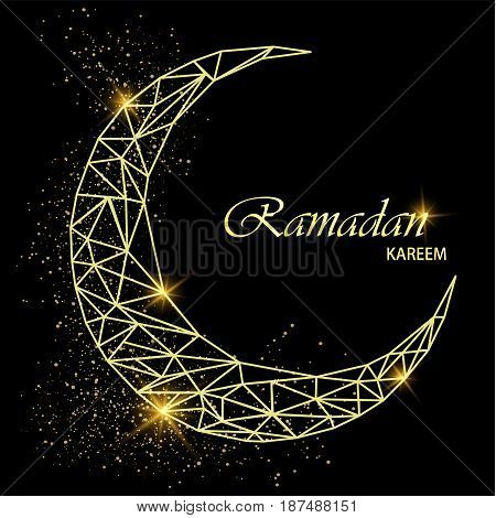 Ramadan Kareem beautiful greeting card with polygonal golden moon with glitter on black background. Stock vector