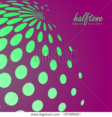 Abstract halftone sphere in blue color on compliment color background and with example of text, created for business advertising, presentation, logo, web