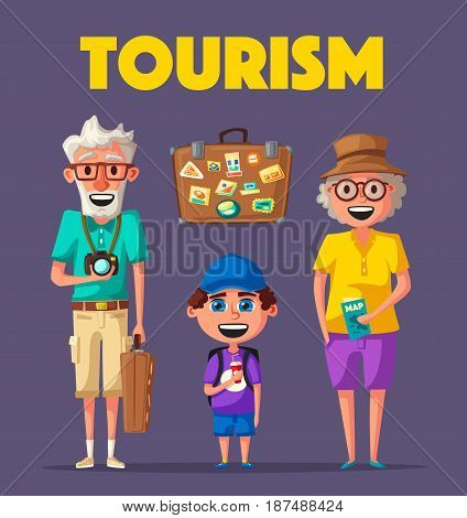 Old couple and grandchild in travel. Journey of grandparents. Cartoon vector illustration. Character design on senior age travelers. Family having summer holidays trip. Elderly people ready for sightseeing tour. Travelling together