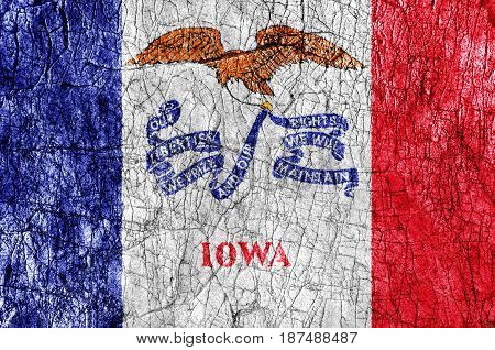 Grudge stone painted US Iowa flag close