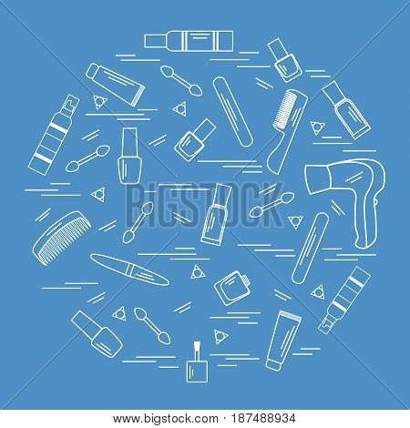 Vector Illustration Various Accessories For The Care Of Your Body Arranged In A Circle: Hairdryer, C