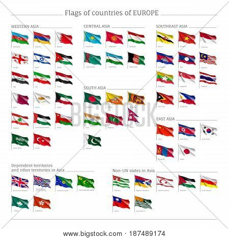 Big set of flags of Europe, official symbol of countries, full collection of political and government elements, isolated on white background, vector illustration