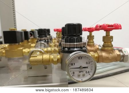 hand valve in industrial plant in Abstract background