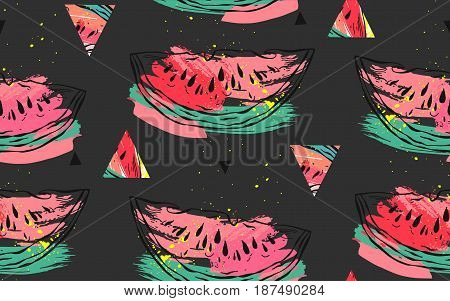 Hand drawn vector abstract collage seamless pattern with watermelon motif and triangle hipster shapes isolated on black background.Unusual decoration for summer time wedding, birthday, save the date.
