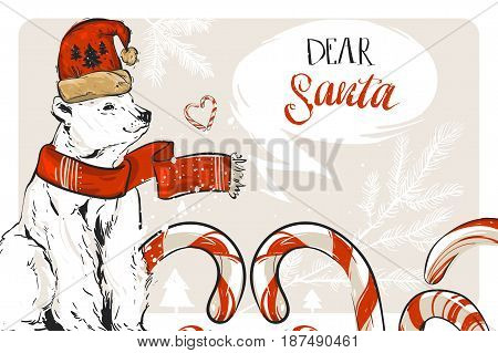 Hand drawn vector graphic Merry Christmas save the date greeting decoration card with candy canes, north polar bear and handwritten modern calligraphy Dear Santa isolated on pastel background.