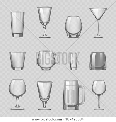 Transparent empty glasses and stemware for different drinks tumbler mug cups reservoir vessel set realistic vector illustration. Cocktail beaker crystal collection restaurant wineglass glassware.