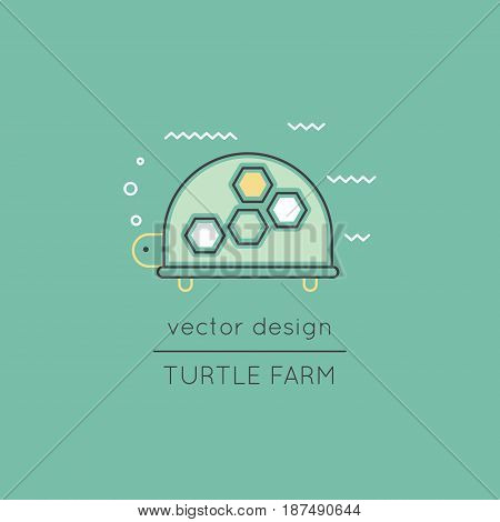 Turtle vector thin line icon. Colored isolated symbol. Logo template, element for travel agency products, tour brochure, excursion banner. Simple mono linear modern design.