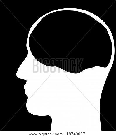 Silhouette of a man's head on a white background. Pattern.
