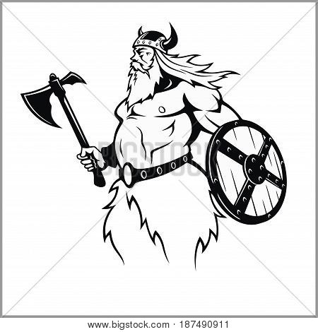 Viking with an axe preparing for battle - vector illustration