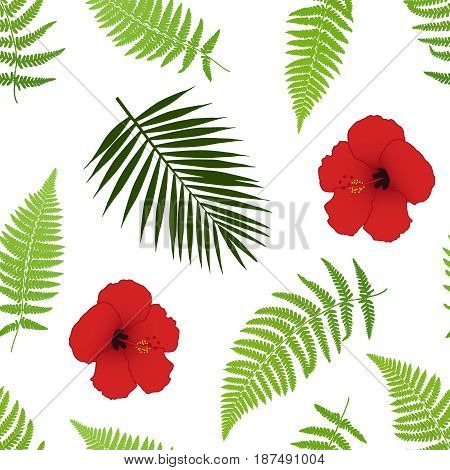 Red hibiscus and palm leaves seamless pattern. Vector illustration.