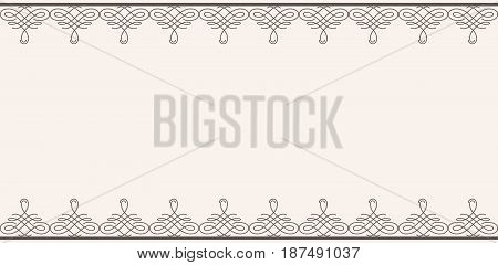 Backdrop with borders in calligraphic retro style in brown color isolated on beige background. Vector illustration
