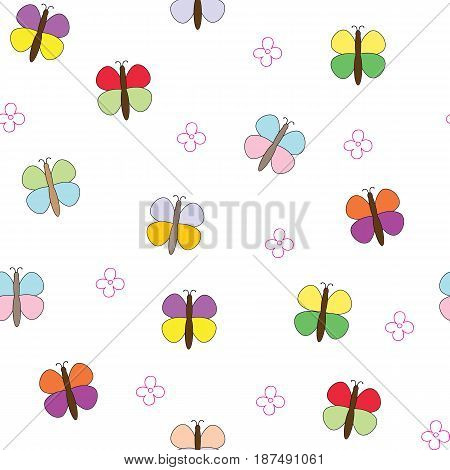 Seamless pattern with butterflies and flowers. Vector picture of moths. Children's drawing.