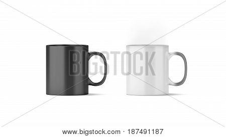 Blank magic mug mockup isolated cold and hot state 3d rendering. Magical heat sensitive cup mock up. Color changing beverage utensil template. Morphing ceramic drink with thermoprint empty space.