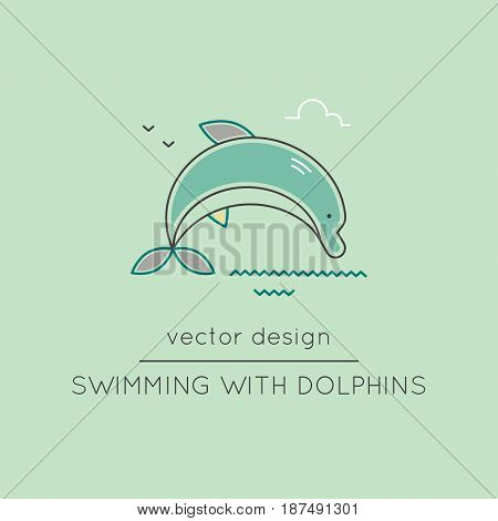 Dolphin vector thin line icon. Colored isolated symbol. Logo template, element for travel agency products, tour brochure, excursion banner. Simple mono linear modern design.