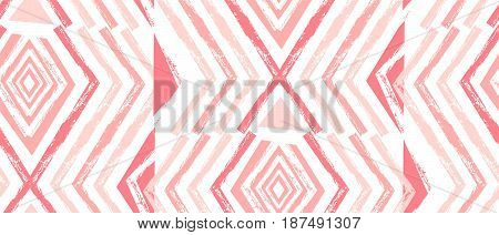 Hand drawn vector Navajo seamless pattern.Aztec abstract geometric print in pastel colors isolated on white background.Zig zag pattern.