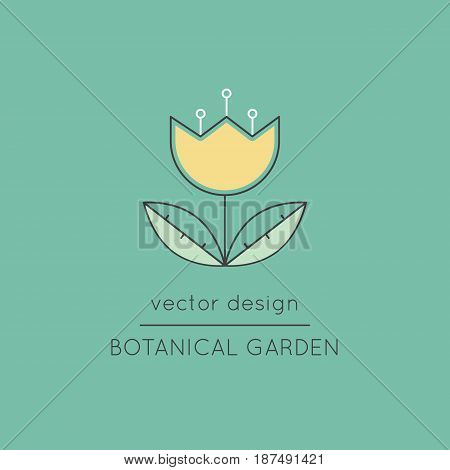 Botanical garden vector thin line icon. Colored isolated symbol, flower. Logo template, element for travel agency products, tour brochure, excursion banner. Simple mono linear modern design.