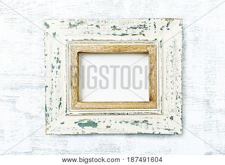 Vintage Image Frame on wooden surface