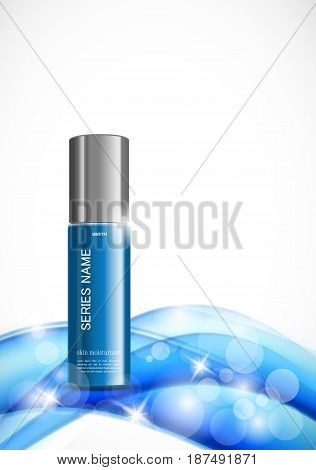 Beauty cosmetic light design template with skin moisturizer blue realistic package on soft dynamic wavy shiny lines background. Vector illustration