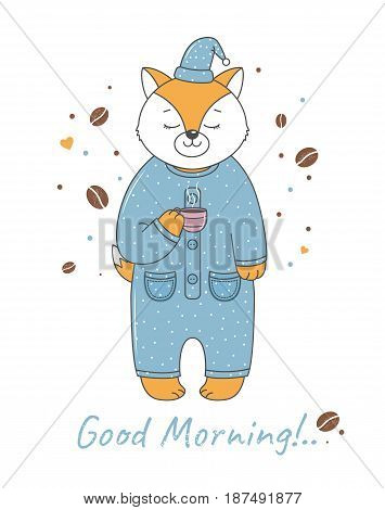Fox in pajamas with a cup of coffee.Vector illustration for baby shirt design, print design t-shirt , invitation, children goods and childish accessories. Isolated on white background.