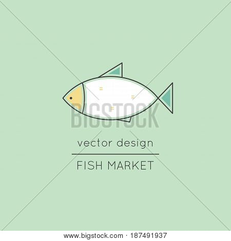 Fish market, vector thin line icon. Colored isolated symbol. Logo template for fish market, seafood restaurant, tour brochure, excursion banner. Simple mono linear modern design.