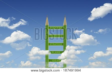 Business words on green pencil ladder over blue sky Step to success concept