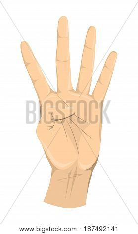 Four fingers hand on white background. Symbol of number 4.