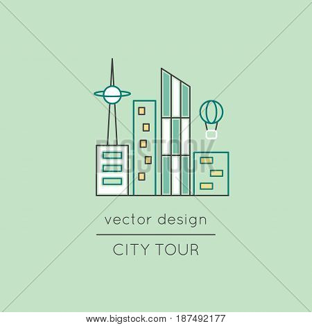 City vector thin line icon. Colored isolated symbol. Logo template, element for travel agency products, tour brochure, excursion banner. Simple mono linear modern design.