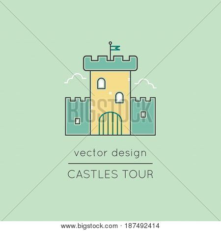 Castle vector thin line icon. Isolated symbol. Logo template, element for travel agency products, tour brochure, excursion banner. Simple mono linear modern design.