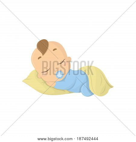 Sleeping baby boy. Isolated funny baby with pacifier and pillow.