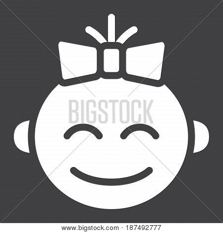 Baby girl solid icon, child and infant, vector graphics, a filled pattern on a black background, eps 10.