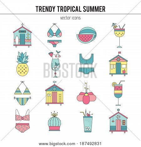 Summer vector thin line icons set. Isolated symbols. Beach huts, bikinis, cocktails, fruits. Logo templates, elements for summer products. Simple mono linear modern design.