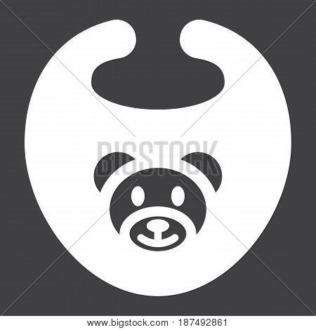 Baby bib solid icon, kid and clothes, vector graphics, a filled pattern on a black background, eps 10.