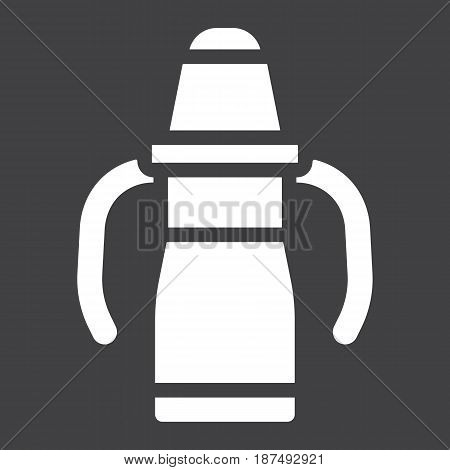 Sippy cup solid icon, baby cup and bottle, vector graphics, a filled pattern on a black background, eps 10.