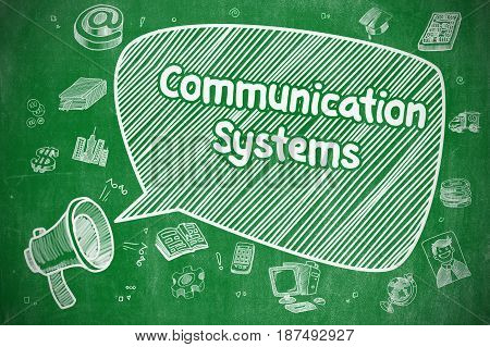 Communication Systems on Speech Bubble. Hand Drawn Illustration of Shrieking Megaphone. Advertising Concept.