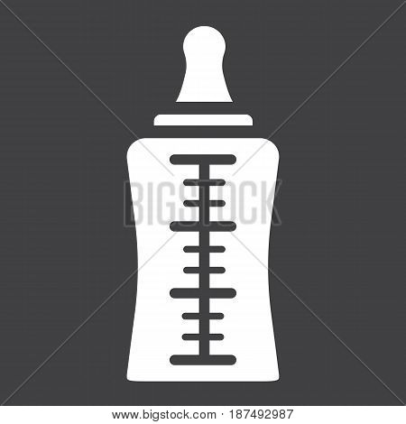 Baby bottle solid icon, milk and nipple, vector graphics, a filled pattern on a black background, eps 10.