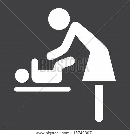 Mother swaddle baby solid icon, care and motherhood, vector graphics, a filled pattern on a black background, eps 10.
