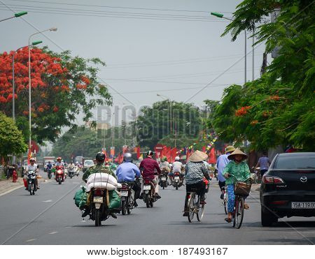 Traffic On Street In Hai Phong, Vietnam