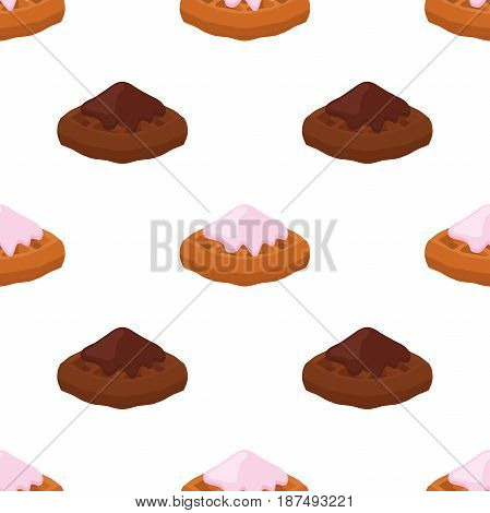 Cartoon seamless pattern of belgian, chinese waffles - yogurt, cream, chocolate. Tasty breakfast in restaurant. Made in cartoon flat style.