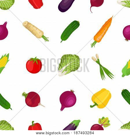 Seamless pattern of healthy vegetables, farm product. Made in cartoon flat style. Tomato, bell pepper, leek, carrot, horse radish, chinese cabbage, onion, beetroot, corn, eggplant, cucumber.