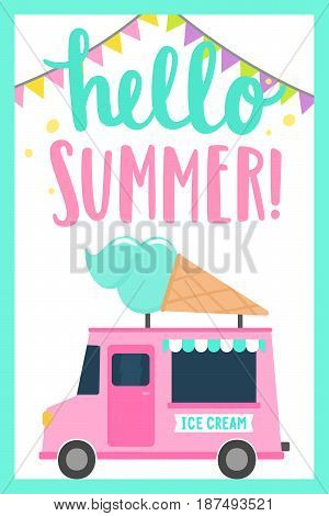 Hello summer. Bright and funny cartoon illustration. Hand drawn lettering. Editable vector