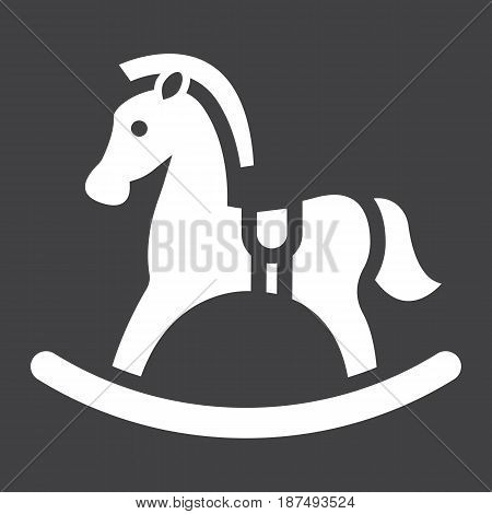Rocking horse solid icon, wooden toy, vector graphics, a filled pattern on a black background, eps 10.