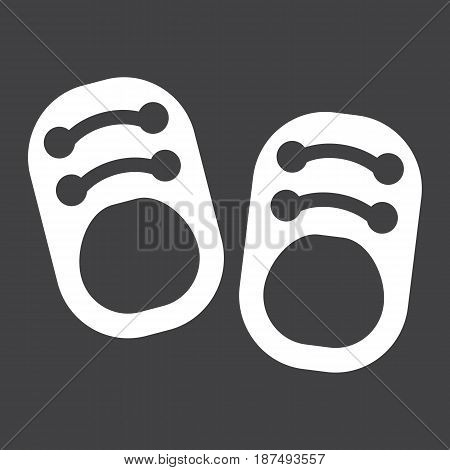 Baby shoes solid icon, footwear and fashion, vector graphics, a filled pattern on a black background, eps 10.