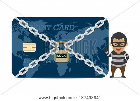 Bandit ready to robbery a credit card are locked. Illustration about bank security system.