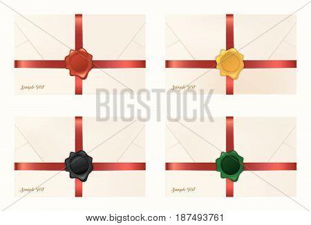 Vector illustration of Set of wax sealed envelopes