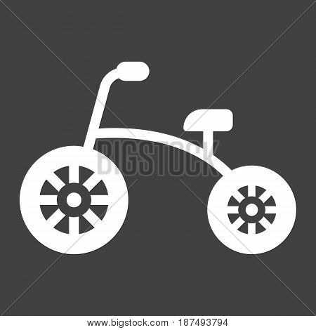 Tricycle solid icon, bike and toy, vector graphics, a filled pattern on a black background, eps 10.