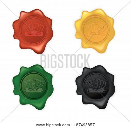 Vector illustration of Crown Wax Seal Set