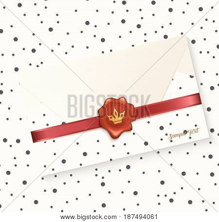Vector illustration of Envelope with red wax seal