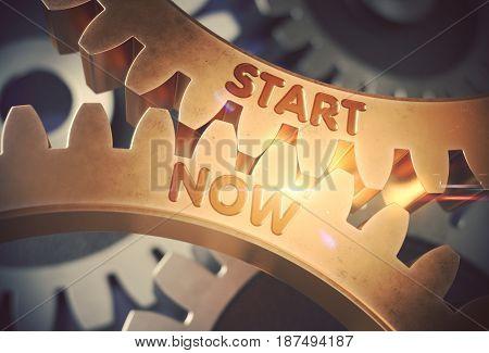 Start Now on Mechanism of Golden Cog Gears with Glow Effect. Start Now on the Mechanism of Golden Cogwheels. 3D Rendering.
