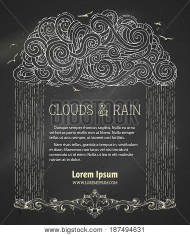Vector Chalk Rain Cloud Background.