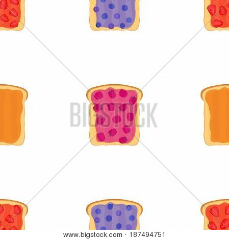 Jam on toasts, toast with jelly seamless pattern. Made in cartoon flat style. Healthy nutrition.